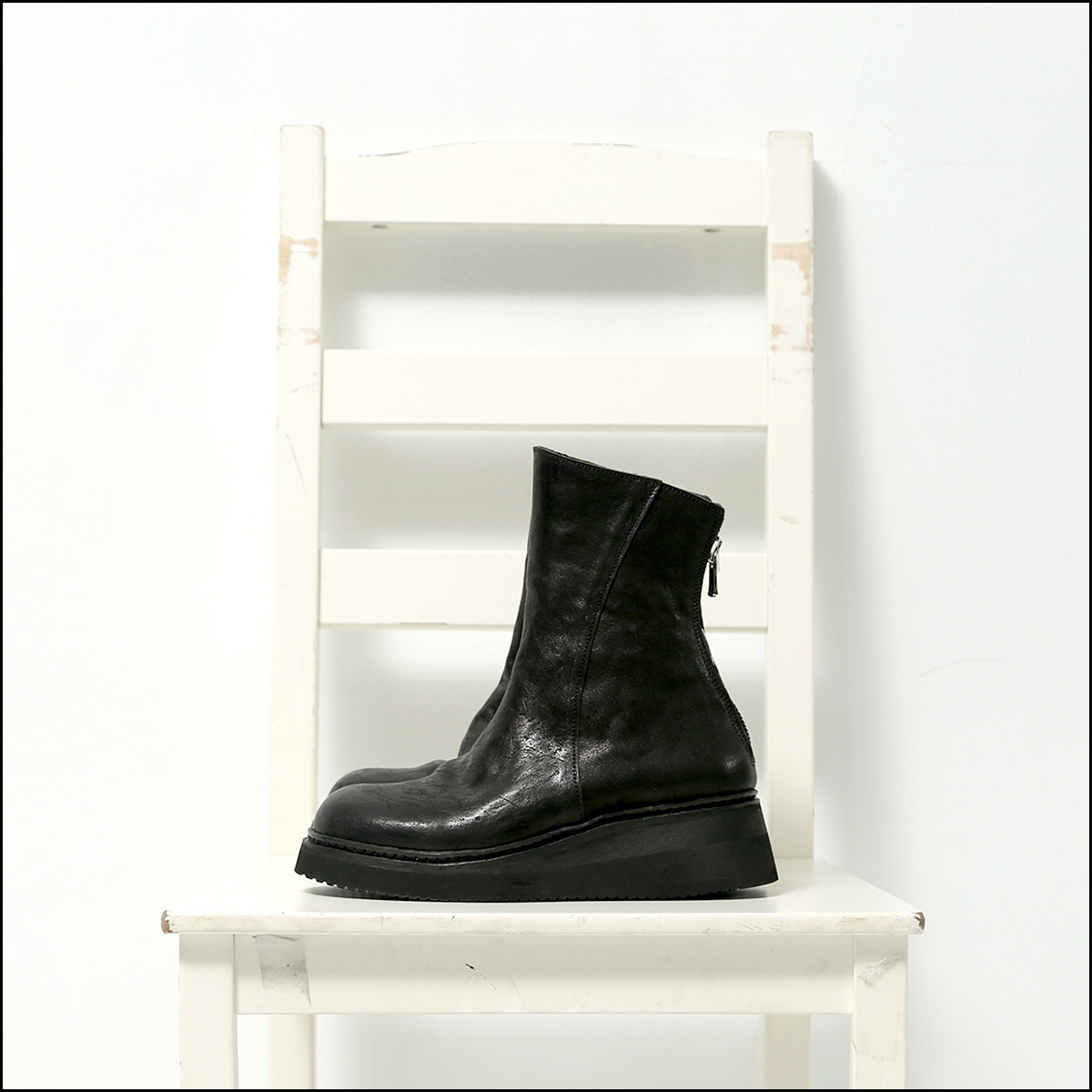 Portaille_BACK ZIP LEATHER BOOTS PQ01F_BLACK