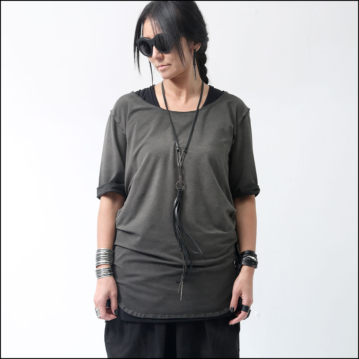 NOSTRASANTISSIMA_UNISEX DYED HALF SEEVE TEE TS08*1_GREY