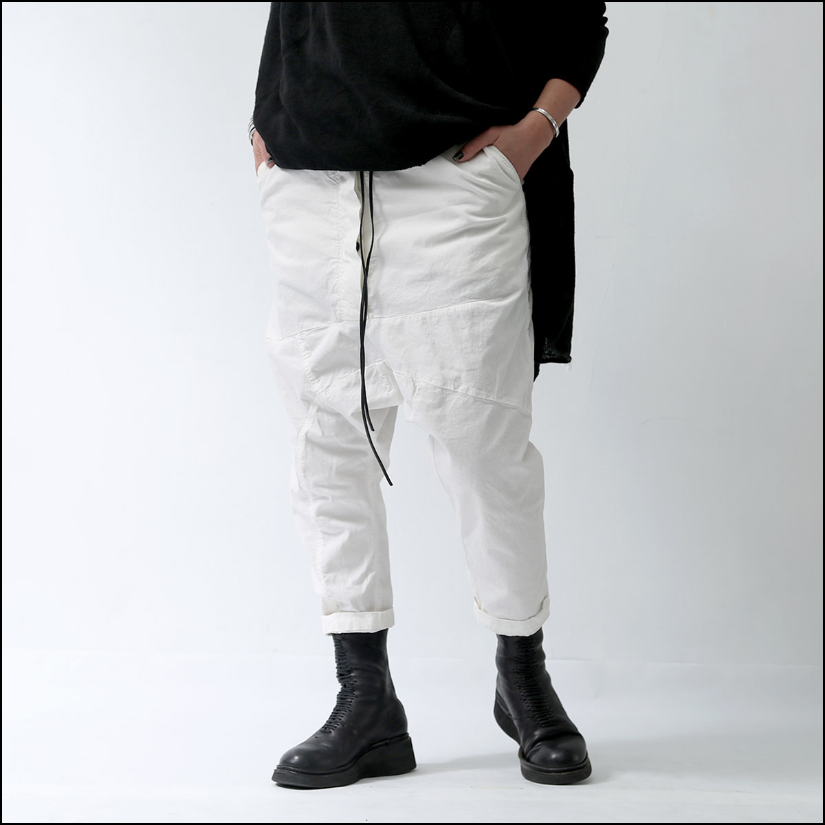 RUNDHOLZ DIP_UNISEX SARROUEL PANTS 260 0108_CHALK(WHITE)