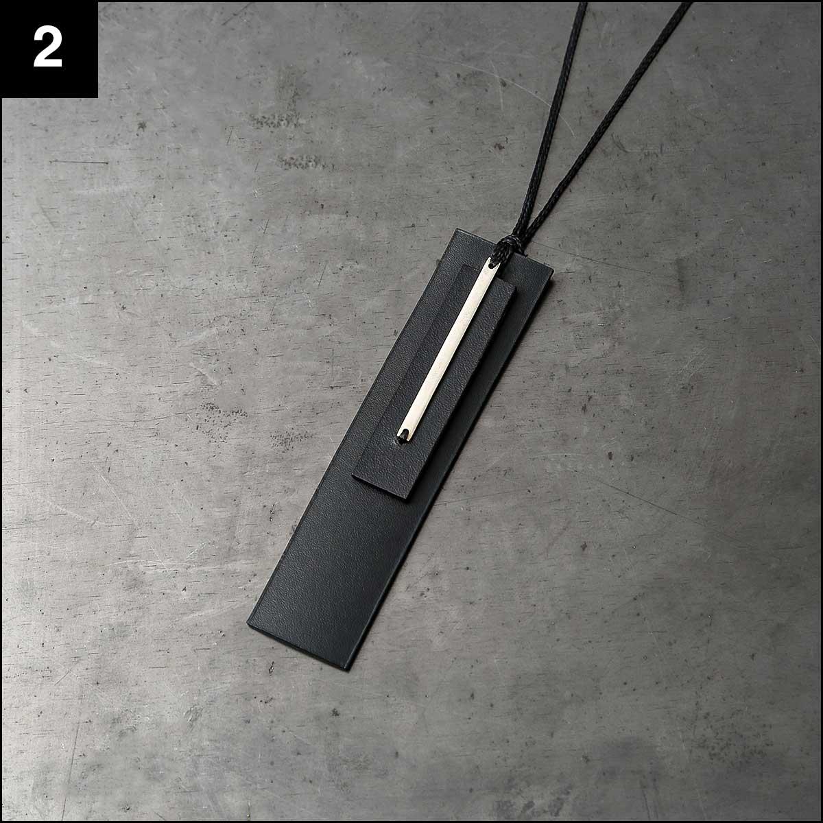 Aumorfia_LEATHER+SILVER925 W-PLATE NECKLACE