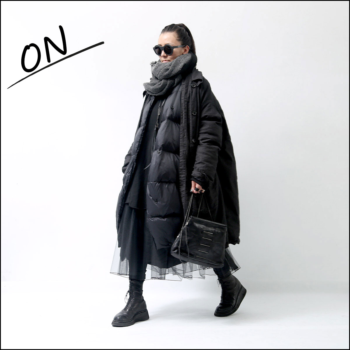 RUNDHOLZ_W LAYERED DOWN COAT 114 1206_ANTHRA