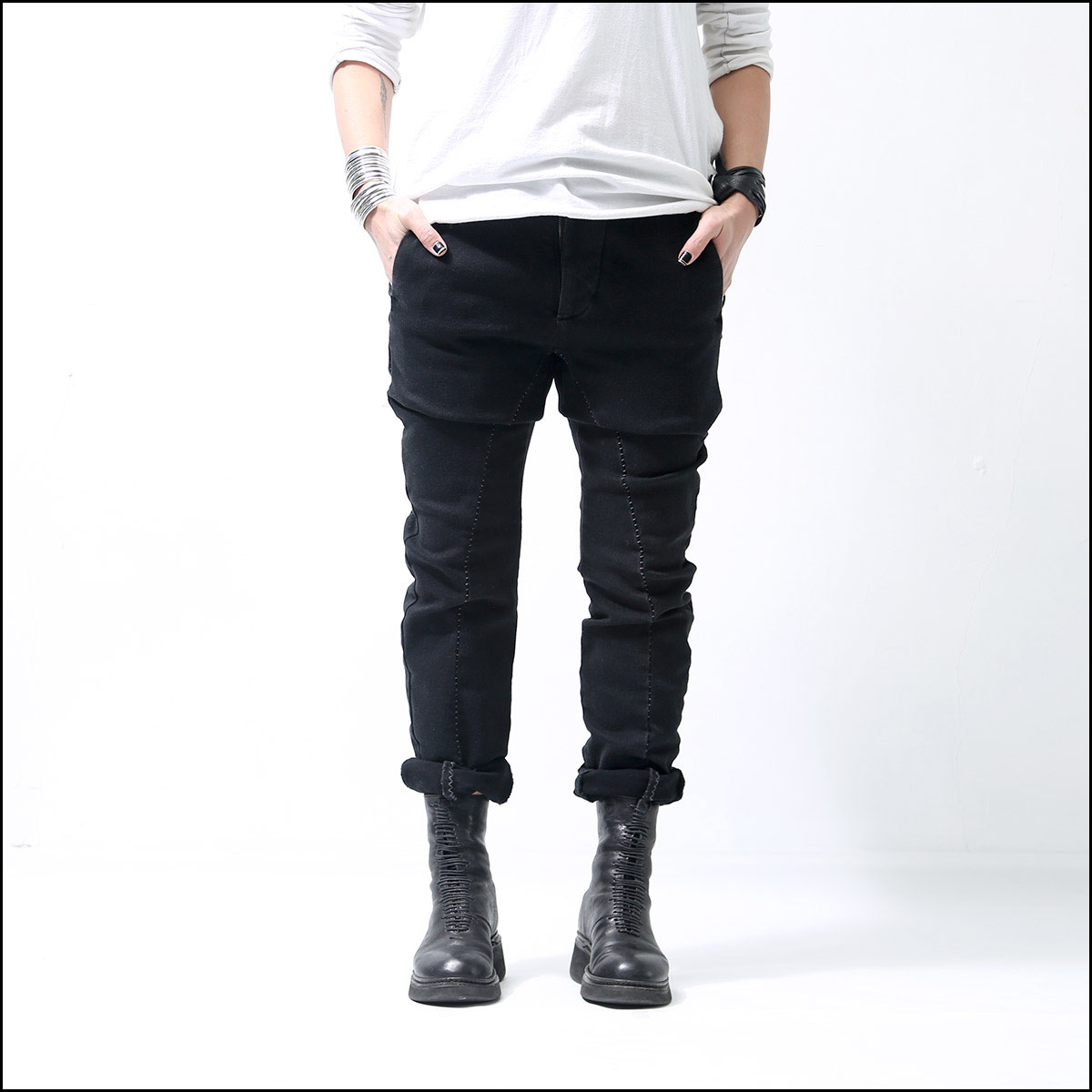thom/krom_OVERLOCK STITCH DENIM MT49_BLACK