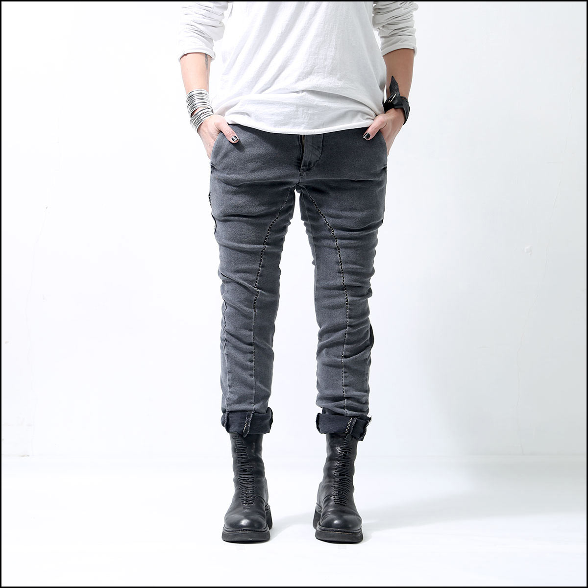 thom/krom_OVERLOCK STITCH DENIM MT49_GREY